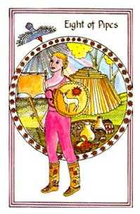 Eight of Pipes Tarot Card - Medicine Woman Tarot Deck