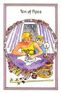 Ten of Staves Tarot Card - Medicine Woman Tarot Deck