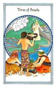 Three of Bowls Tarot Card - Medicine Woman Tarot Deck