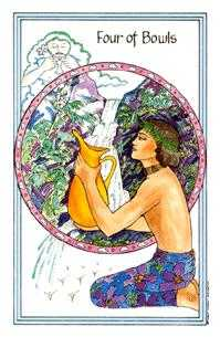 Four of Hearts Tarot Card - Medicine Woman Tarot Deck