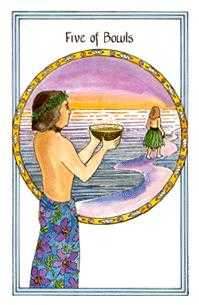 Five of Bowls Tarot Card - Medicine Woman Tarot Deck