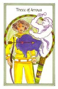 Three of Arrows Tarot Card - Medicine Woman Tarot Deck