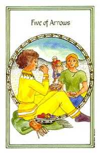Five of Arrows Tarot Card - Medicine Woman Tarot Deck