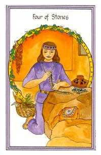 Four of Pumpkins Tarot Card - Medicine Woman Tarot Deck