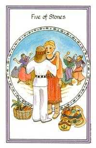 Five of Discs Tarot Card - Medicine Woman Tarot Deck