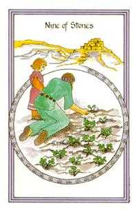 Nine of Stones Tarot Card - Medicine Woman Tarot Deck