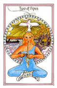 Two of Pipes Tarot card in Medicine Woman deck