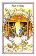 Four of Pipes Tarot card in Medicine Woman deck
