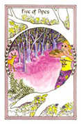 Five of Pipes Tarot card in Medicine Woman Tarot deck