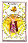 Nine of Pipes Tarot card in Medicine Woman Tarot deck