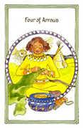 Four of Arrows Tarot card in Medicine Woman deck