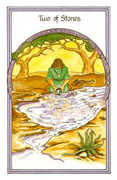 Two of Stones Tarot card in Medicine Woman deck
