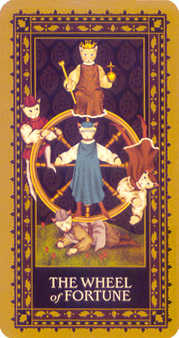 The Wheel of Fortune Tarot Card - Medieval Cat Tarot Deck