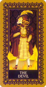 The Devil Tarot Card - Medieval Cat Tarot Deck