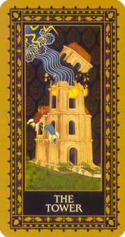 The Falling Tower Tarot Card - Medieval Cat Tarot Deck