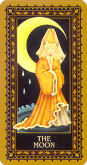 The Moon Tarot Card - Medieval Cat Tarot Deck