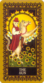 The Sun Tarot Card - Medieval Cat Tarot Deck