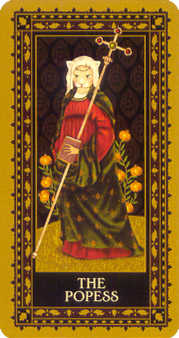 The Popess Tarot Card - Medieval Cat Tarot Deck