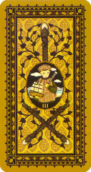 Three of Batons Tarot Card - Medieval Cat Tarot Deck