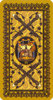 Four of Pipes Tarot Card - Medieval Cat Tarot Deck
