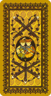 Five of Staves Tarot Card - Medieval Cat Tarot Deck