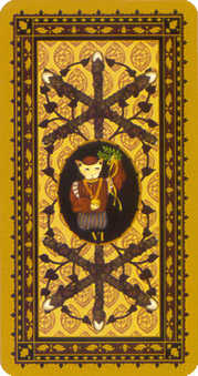 Six of Pipes Tarot Card - Medieval Cat Tarot Deck