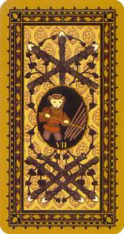 Seven of Batons Tarot Card - Medieval Cat Tarot Deck