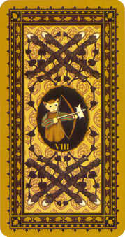 Eight of Staves Tarot Card - Medieval Cat Tarot Deck