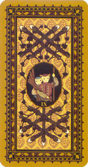 Nine of Staves Tarot Card - Medieval Cat Tarot Deck