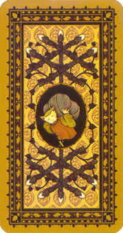 Ten of Staves Tarot Card - Medieval Cat Tarot Deck