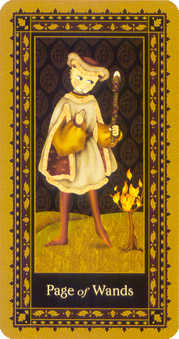 Page of Rods Tarot Card - Medieval Cat Tarot Deck
