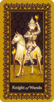 Prince of Staves Tarot Card - Medieval Cat Tarot Deck