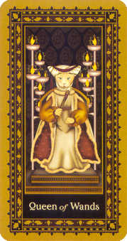 Queen of Batons Tarot Card - Medieval Cat Tarot Deck
