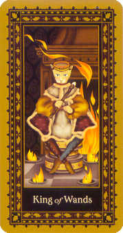 King of Batons Tarot Card - Medieval Cat Tarot Deck