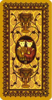 Two of Bowls Tarot Card - Medieval Cat Tarot Deck
