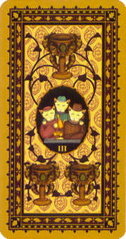 Three of Bowls Tarot Card - Medieval Cat Tarot Deck