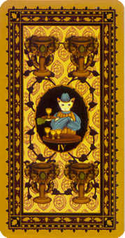 Four of Hearts Tarot Card - Medieval Cat Tarot Deck