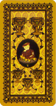 Five of Hearts Tarot Card - Medieval Cat Tarot Deck