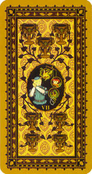 Seven of Bowls Tarot Card - Medieval Cat Tarot Deck