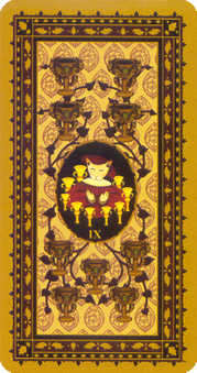 Nine of Ghosts Tarot Card - Medieval Cat Tarot Deck