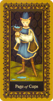 Daughter of Cups Tarot Card - Medieval Cat Tarot Deck