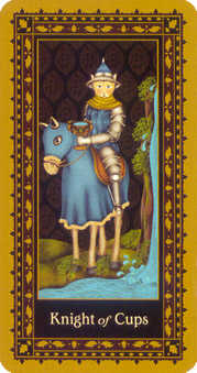 Cavalier of Cups Tarot Card - Medieval Cat Tarot Deck
