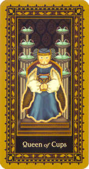 Queen of Bowls Tarot Card - Medieval Cat Tarot Deck