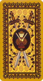 Two of Swords Tarot Card - Medieval Cat Tarot Deck