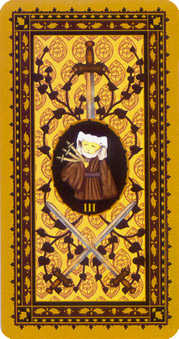Three of Swords Tarot Card - Medieval Cat Tarot Deck