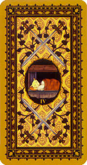 Four of Bats Tarot Card - Medieval Cat Tarot Deck