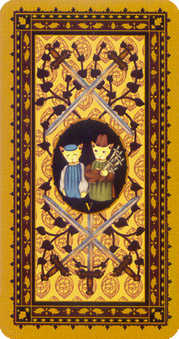 Five of Rainbows Tarot Card - Medieval Cat Tarot Deck