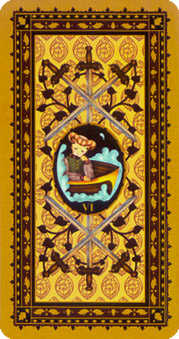 Six of Swords Tarot Card - Medieval Cat Tarot Deck