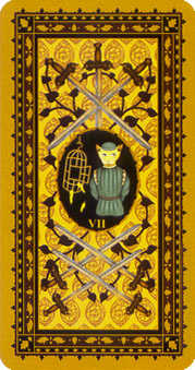 Seven of Arrows Tarot Card - Medieval Cat Tarot Deck