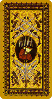 Nine of Rainbows Tarot Card - Medieval Cat Tarot Deck